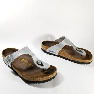 Birkenstock Silver Leather Thong Strap Sandals
